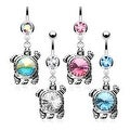 Single Gemmed Turtle Dangle Navel Belly Button Ring 316L Surgical Steel (Sold Ind.) - Thumbnail 0