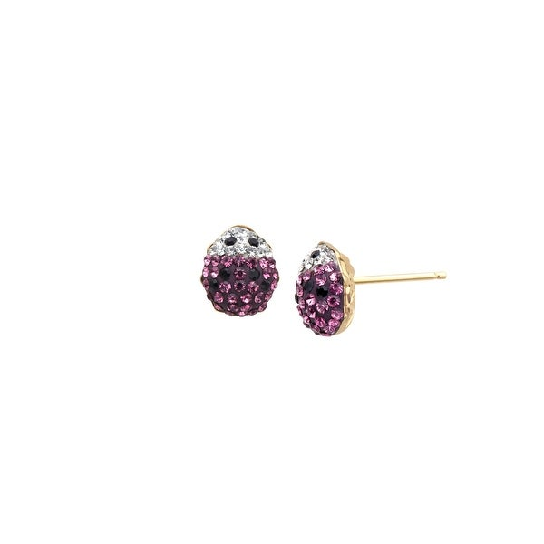 Girl's Lady Bug Earrings with Pink Swarovski elements Crystal in 14K Gold-Plated Sterling Silver
