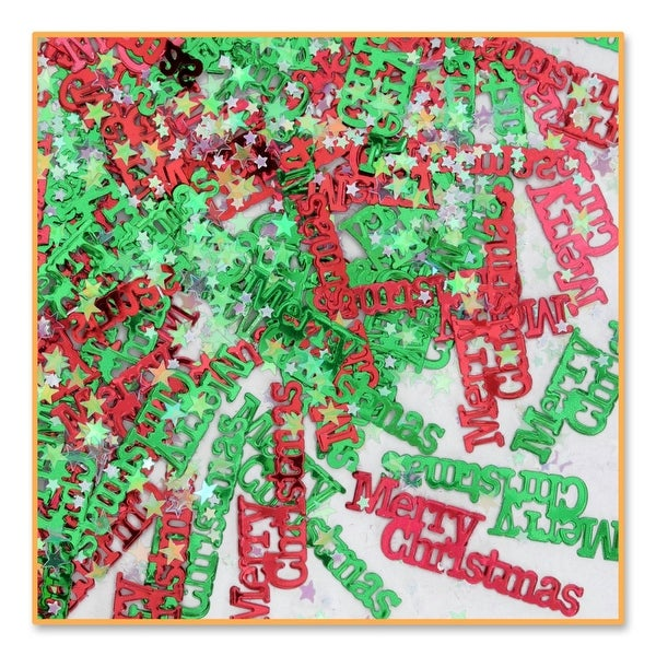 """Pack of 6 Metallic Red and Green """"Merry Christmas"""" Celebration Confetti Bags 0.5 oz."""