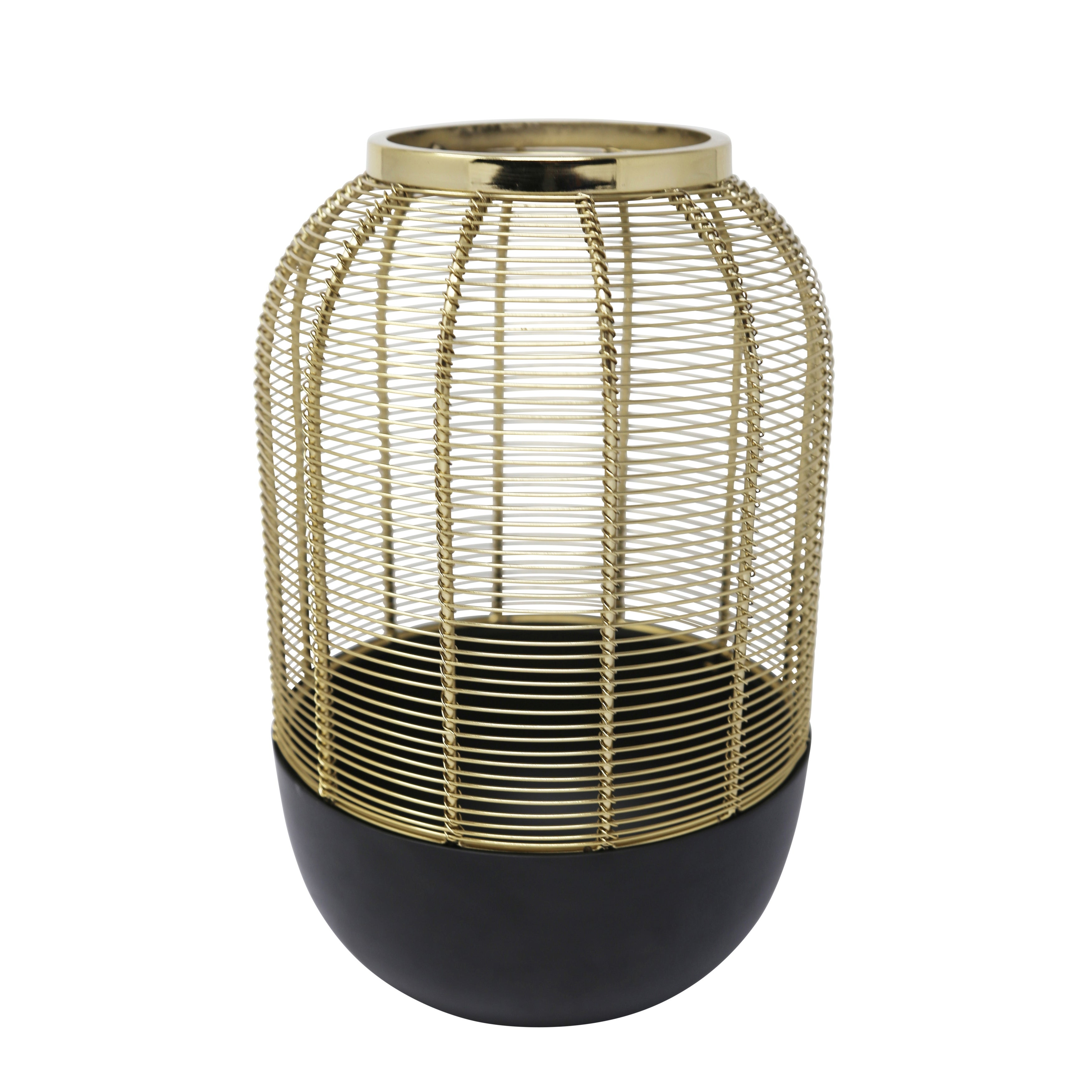 Iron Wire Cage Vase, Large, Gold and  Black