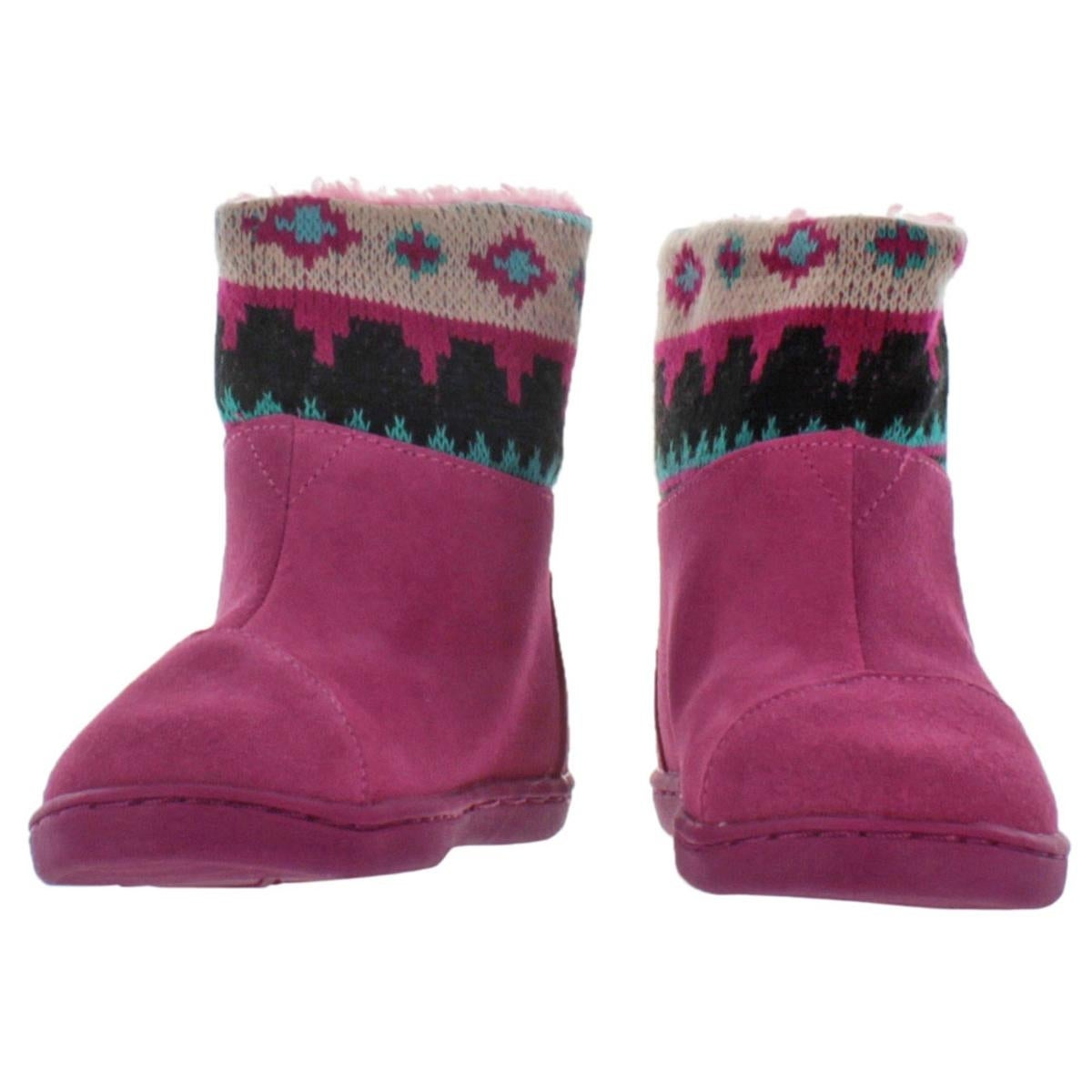 Toms Girls Nepal Boot Winter Boots Suede Knit Trim