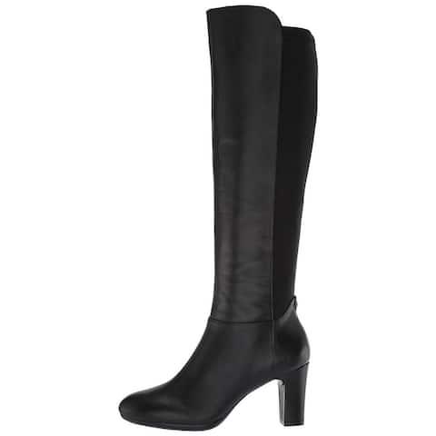 Anne Klein Women's Sylvie Heeled Boot Knee High, Black, 8.5 Medium/Wide Shaft US - 5.5
