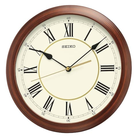 Seiko QXA597ALH Round Wood Color Finish Wall Clock