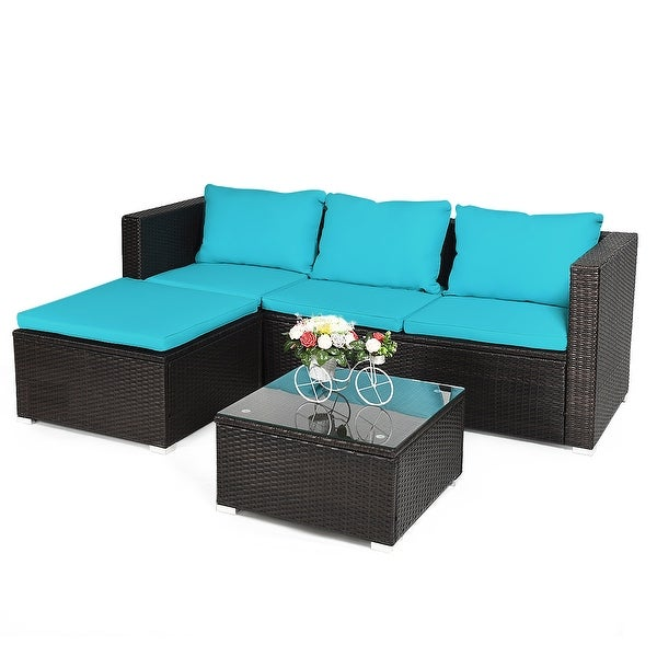 Costway 4PCS Patio Rattan Furniture Set Loveseat Chair Cushioned Steel Frame Garden Yard
