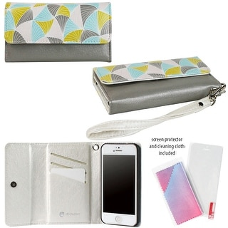 JAVOedge Abstract Triangle Clutch Wallet Case with Wristlet and Screen Protector for Apple iPhone 5, iPhone 5s