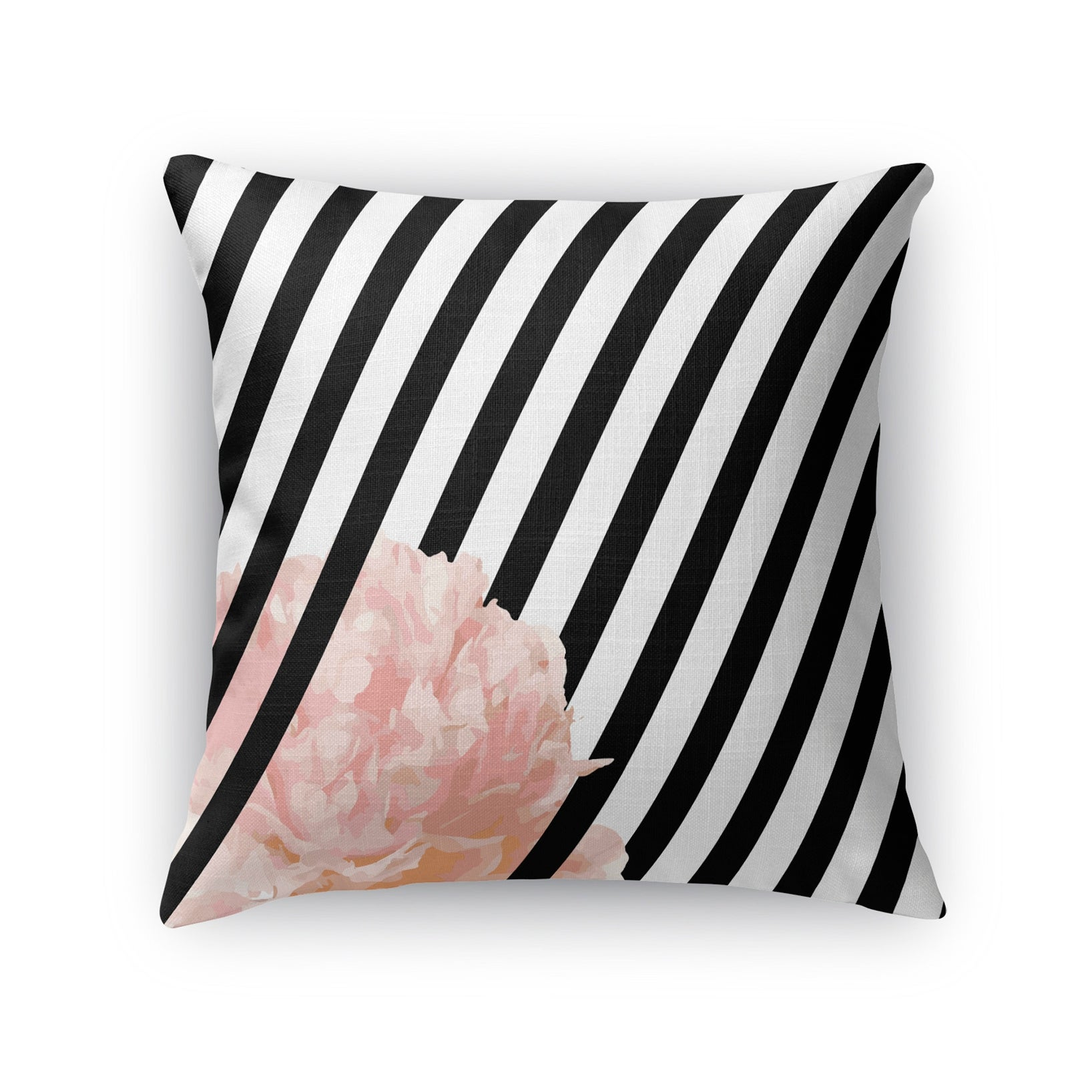 Kavka Designs Black White Pink Peony Stripe Accent Pillow With Insert Overstock 16937032