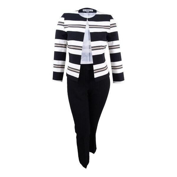Tahari ASL Women/'s Plus Size Contrast-Trim Jacket 16W Grey//Black