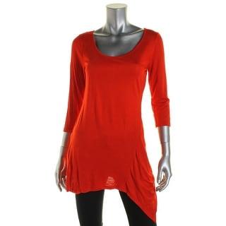 Ultraflirt Womens Juniors Scoop Neck Asymmetric Tunic Top