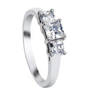GEORGINA Classic Three Stone Princess Cut Palladium Engagement Ring - MADE WITH SWAROVSKI® ELEMENTS - White