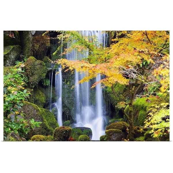 """""""A Waterfall In A Japanese Garden In Autumn"""" Poster Print"""