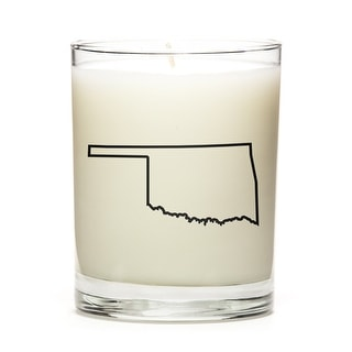 Custom Candles with the Map Outline Oklahoma, Peach Belini