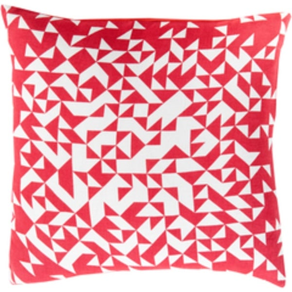 "22"" Apple Red and Sugar White Contemporary Decorative Square Throw Pillow"