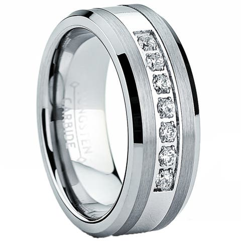 Oliveti Men's Tungsten Carbide and Stainless Steel Wedding Band Ring with Cubic Zirconia