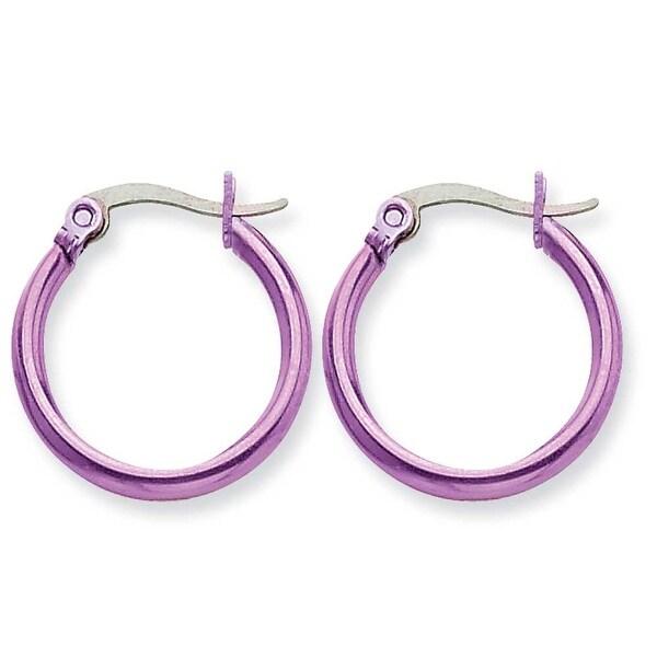 Chisel Stainless Steel Pink 19mm Hoop Earrings