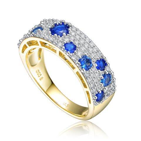 Collette Z Two Tone Blue Cubic Zirconia Coctail Ring