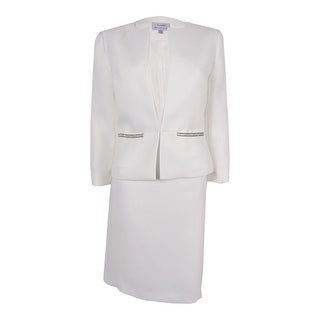 Tahari Women's 'Byron' Sparkle Textured Skirt Suit - Ivory White