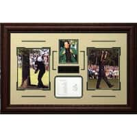 Phil Mickelson unsigned 3Time Masters Champion Tribute 34x23 3 Photo Leather Framed w Scorecard