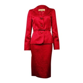 Kasper Women's Belted Jacquard Notch Skirt Suit