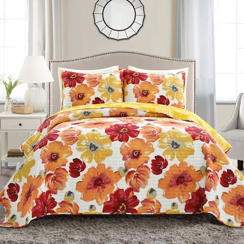 Levine Grey and Yellow Floral 3-piece Quilt Set
