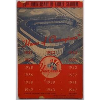New York Yankees 1948 Yankee Stadium 25th Anniversary Program & Score Card