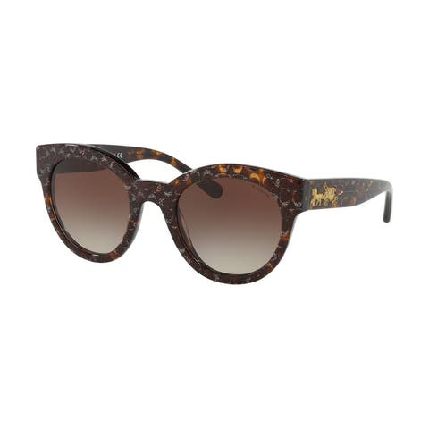Coach HC8265 554713 51 Tortoise Glitter Sig C Facing Woman Round Sunglasses - Tortosie