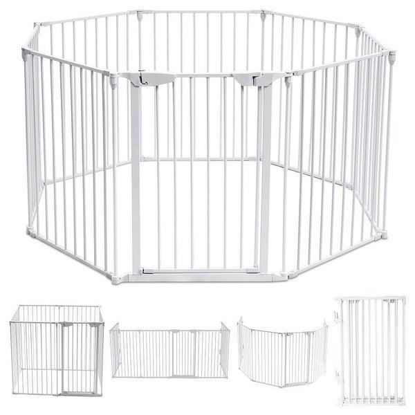 Costway 8 Panel Metal Gate Baby Pet Fence Safe Playpen Barrier