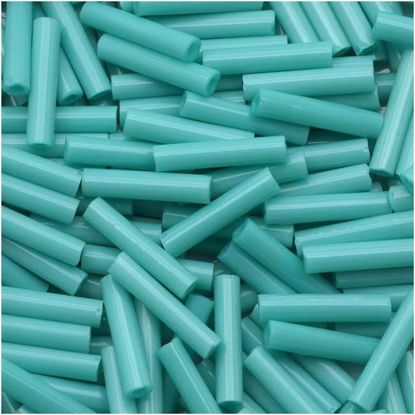 Toho Bugle Tube Beads Size 3 2x9mm Opaque Turquoise 10 Grams
