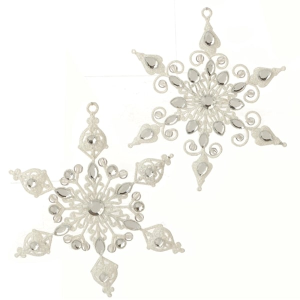 "6.5"" Silver and White Glittered Diamond Gem Snowflake Christmas Ornament"