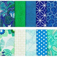 """Fabric Palette Precut Fat Quarter Bundle 18""""X21"""" 5/Pkg-Carnivale Blue Collection"""