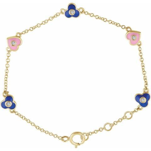 "14K Yellow Gold Diamond Flowers & Hearts 5-Bracelet, 7.5"" (0.04cttw)"
