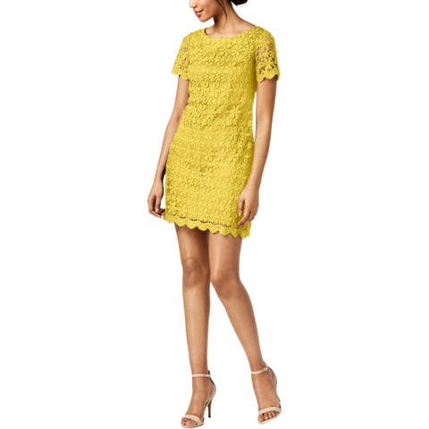 Jessica Howard Womens Casual Dress Lace Overlay Floral Pattern