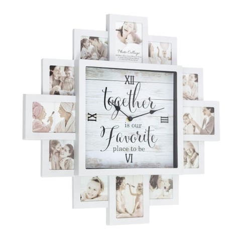 White Farmhouse Shabby-Chic Together Picture Frame Collage Wall Clock