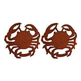 Distressed Orange Cast Iron Crab Shaped Trivet or Wall Hanging Set of 2