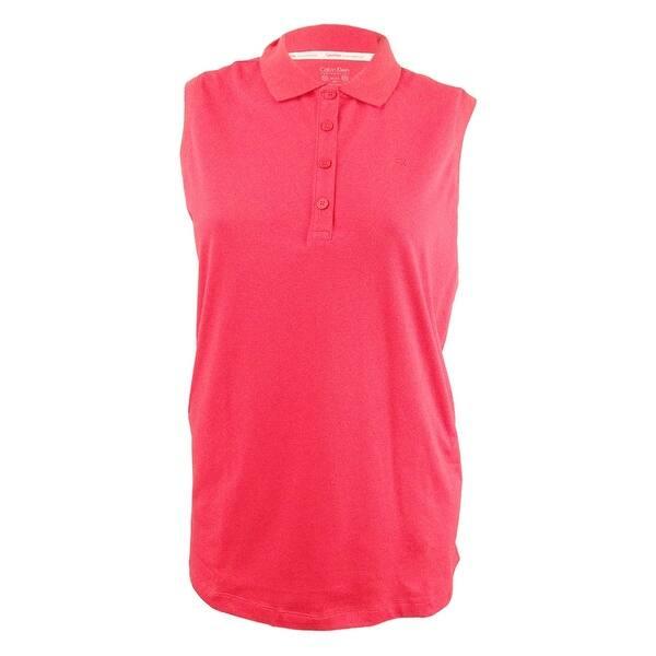 Calvin Klein Performance Women\'s Plus Size Polo Top - Blood Orange - 2X