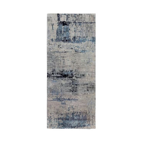 """Hand Knotted Brown Modern and Contemporary with Wool & Silk Oriental Rug (2'6"""" x 5'10"""") - 2'6"""" x 5'10"""""""