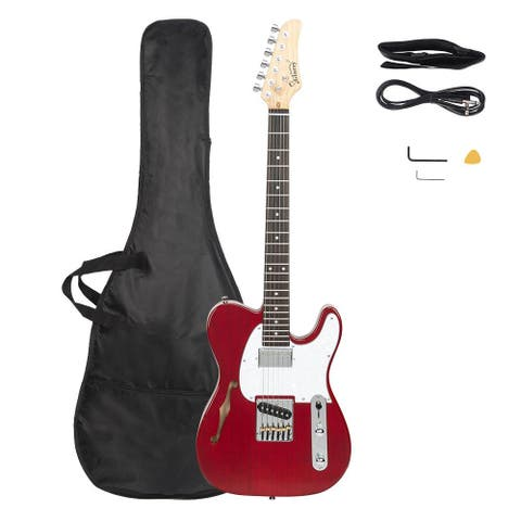 Glarry Rosewood Fingerboard Electric Guitar Kit with Bag for Beginner, Red - N/A