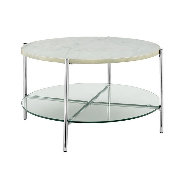 Overstock White Coffee Table.Shop Offex 32 Mid Century Modern Round Coffee Table With White