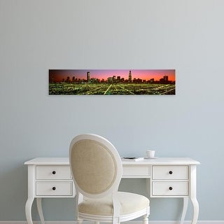 Easy Art Prints Panoramic Images's 'USA, Illinois, Chicago, High angle view of the city at night' Premium Canvas Art