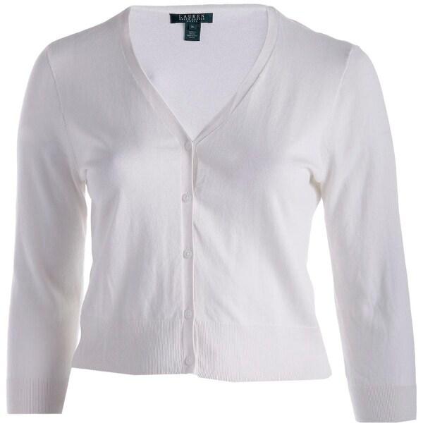 Lauren Ralph Lauren Womens Cardigan Top Cotton Solid