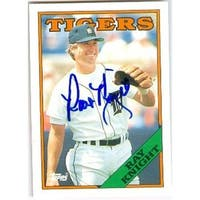 Ray Knight Autographed Baseball Card - Detroit Tigers 1988 Topps -