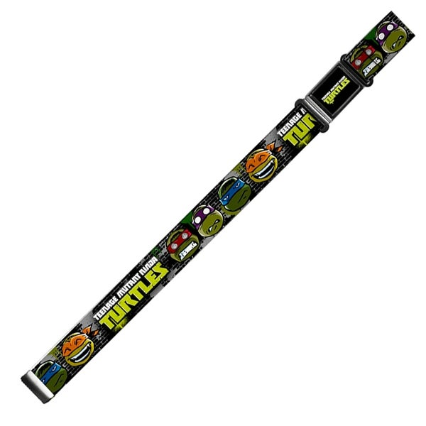 Classic Tmnt Logo Full Color New Series Turtles Expressions Gray Black Magnetic Web Belt - S