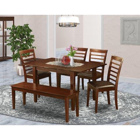 PSML6D-MAH Mahogany Rubberwood 6-piece Kitchen Table Set