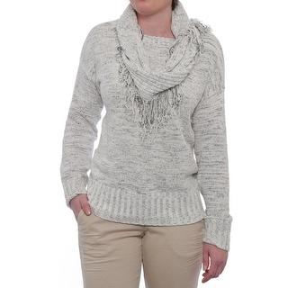 Charter Club Fringe Scarf Crew Neck Sweater Women Regular Sweater