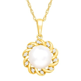 Floral Freshwater Pearl Pendant with Diamonds in 18K Gold