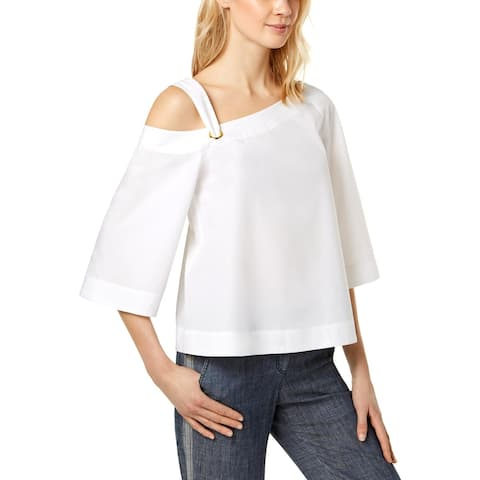Trina Turk Womens Cosmos Pullover Top Cold-Shoulder Elbow Sleeves - S