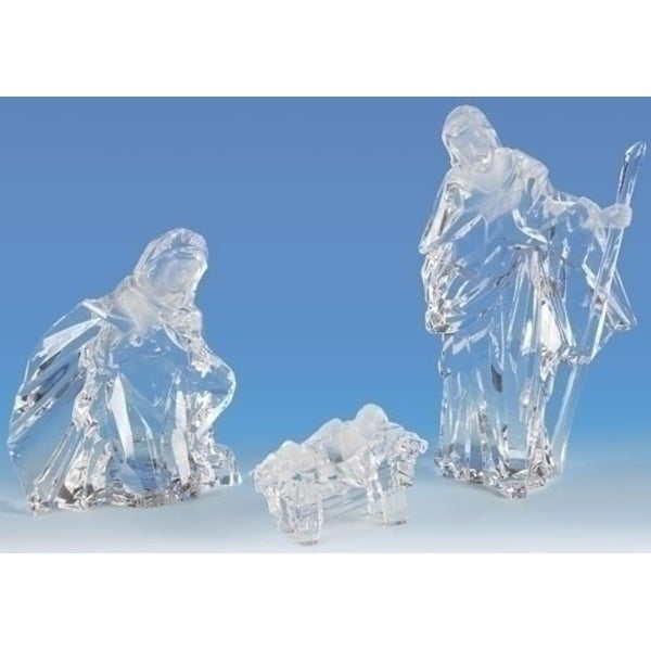 """3 Pieces Clear Holy Family Christmas Nativity Figures 7"""" - N/A"""