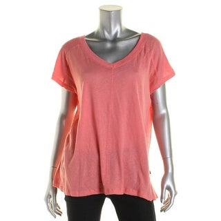 Private Label Womens Linen Ribbed Trim Casual Top