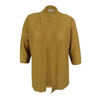 JM Collection Women's 3/4 Sleeves Open Front Textured Cardigan