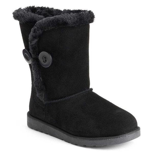 SO Sigma Women's Suede/Faux Fur Boots - Black - 6