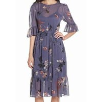 AVEC LES FILLES Purple Floral Women 2 Midi Chiffon Shirt Dress